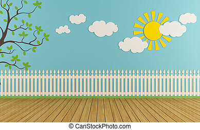 Empty child room with wooden fence, sun, clouds and grass on blue wall - rendering