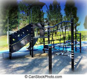 empty playground in the city