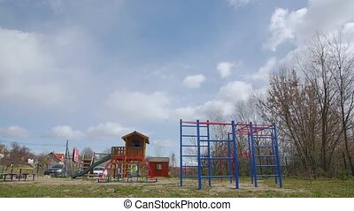 Empty playground on quarantine camera movement