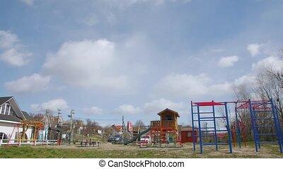 Empty playground quarantine camera movement