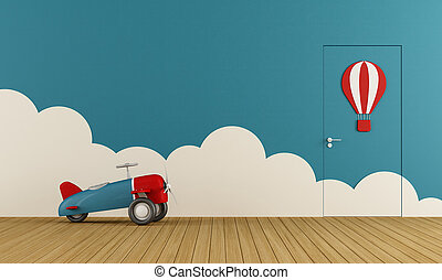 Empty playroom with toy airplane on wooden floor ,clouds and...