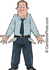 Empty pockets - A man with empty pockets vector illustration