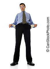 Empty pockets - Poor businessman showing his empty pockets