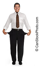 Empty Pockets - Bankrupt man showing empty pockets on a...