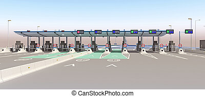 empty point of toll road. 3d rendering