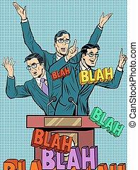 Empty political speech concept blah pop art retro style. Chatter and lies in politics. Electoral debates