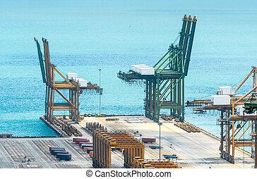 Empty Port harbor, cranes - Aerial view of Singapore empty...