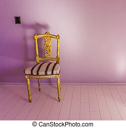 empty posh antique chair standing in a empty room with pink laminate and a purple wall background