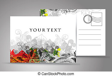 empty post card, isolated on illustration background, vector...