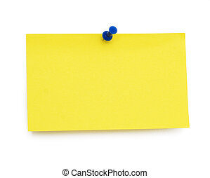 empty post-it - empty yellow blank isolated over white...