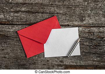 empty postcard in envelope