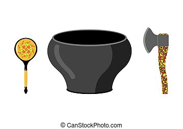 Empty pot with Russian national pattern. Cutlery: wooden spoon and axe. Traditional tableware in Russia.