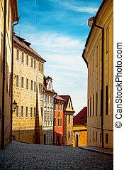 Empty Prague Street in Early Morning