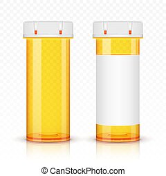 Empty prescription medicine bottles. Isolated on transparent background.