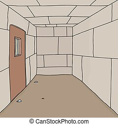 Empty Prison Cell - Cartoon background of empty prison cell...
