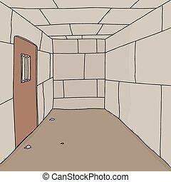 Cartoon background of empty prison cell with door