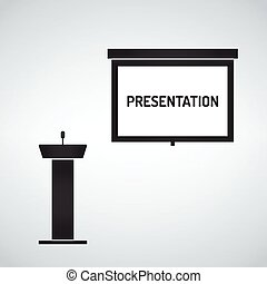Empty Projection screen, Presentation board, pulpit with microphone
