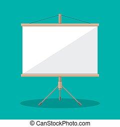 Empty Projection screen, Presentation board