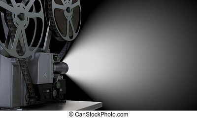 Empty projector screen and spinning film reel with movie on the black background