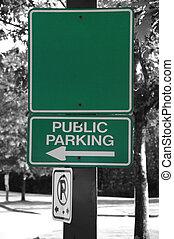Empty public parking sign