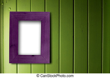 empty purple frame fixed on a green wooden wall, the color of the inner part of the frame is white