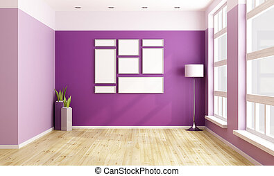 Empty Purple Room With Blank Frame And Big Windows