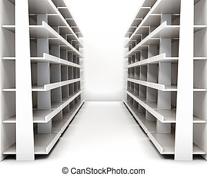 Empty racks with shelves isolated on white background. 3d rendering