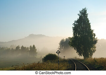 Empty railway track in a foggy countryside