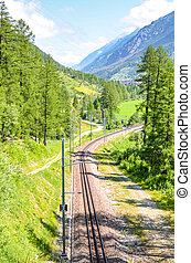 Empty railway track surrounded by green forest photographed on a sunny day. Mountains in background. Railroad, rail. Means of transport. Transportation concept