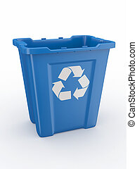 Empty recycle bin with sign recycling