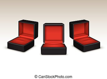 Empty Red and Black Velvet Opened gift jewelry boxes Isolated