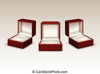 Empty Red and White Velvet Opened gift jewelry boxes Isolated