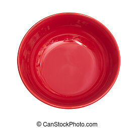 Empty red bowl isolated on white background , clipping path