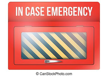 Empty red box with in case of emergency - Empty red...