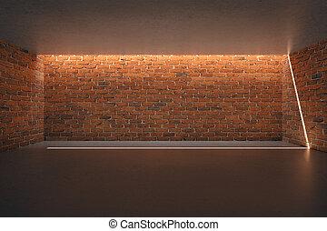 Empty red brick wall - Illuminated empty red brick wall in...