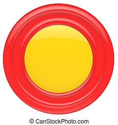 Empty red button isolated on white background.