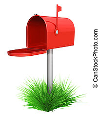 Empty red mailbox and green grass -  isolated over white