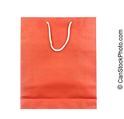 Empty red paper bag isolated on white