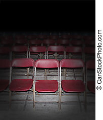Empty Red Seating - Empty red seating in an auditorium or...