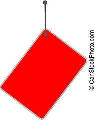empty red sign tag on white background.
