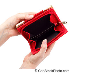 Empty red wallet