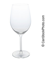 Empty red wine glass  with clipping path, isolated on white background.