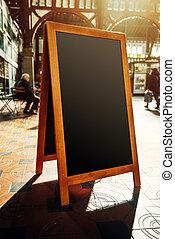 Empty restaurant menu street black chalkboard as copy space