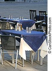 Empty restaurant table in Venice