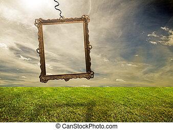 Empty retro frame hanging on poor land - Empty retro frame ...