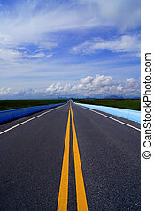 Empty road and sky with cloud