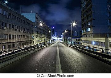 Empty road - Dark street in Tel Aviv, Israel