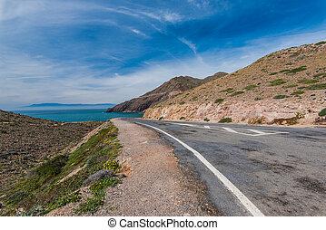 Empty road in Cabo De Gata, Spain
