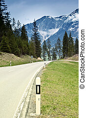 Empty road in the Alps