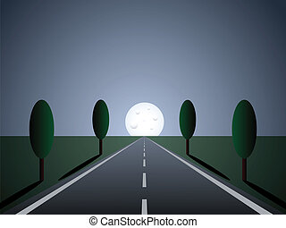 empty road - moon light